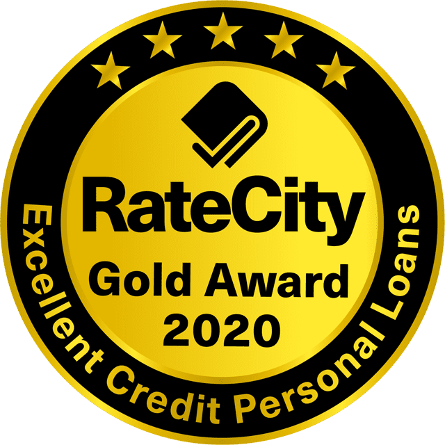 RateCity Gold Award 2020, Excellent Credit Personal Loans